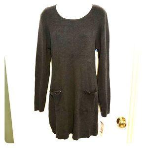 NY collection gray long sleeve knit dress